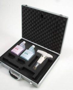 Piaccametro con valigetta e soluzioni di taratura pH